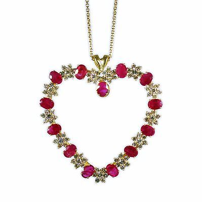 Small 18ct diamond ruby pendant one diamond missing 2101 18ct gold diamond ruby heart pendant with chain aloadofball Image collections