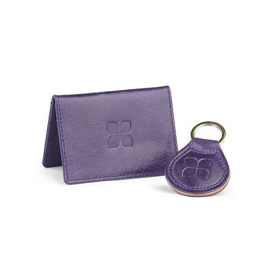 Leather Cardholder and Key Ring Gift Set in Purple