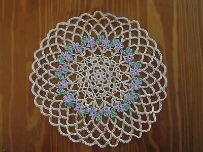 Vintage 'Purple/Green' Floral on Ecru background Crochet Doily - 24 cm diameter