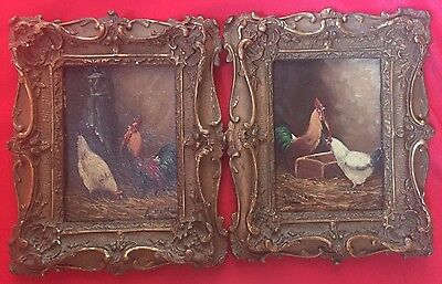 Pair of Paintings Oil on Cardboard Hens Farmyard Frame Rockery 19th Century