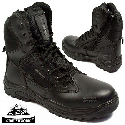 Mens Leather Non Safety Zip Boots Army Military Police Combat Winter Work Shoes