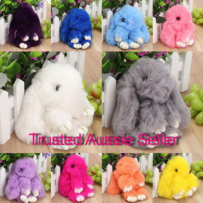 New Adorable Faux Fur Bunny Fluffy Rabbit Keyring Bag Charm Pendant-MUST SEE