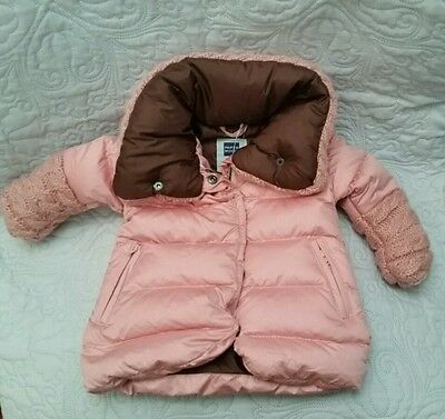 Designer Papermoon Baby Girls Age 3-6 Months Pink Quilted Padded Down Pink Coat