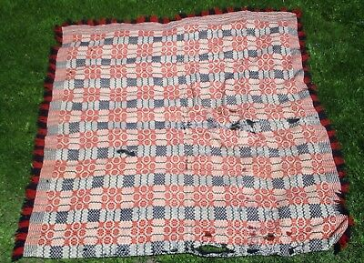Antique 19th Century Wool Coverlet American Woven Blanket Red Blue Checked