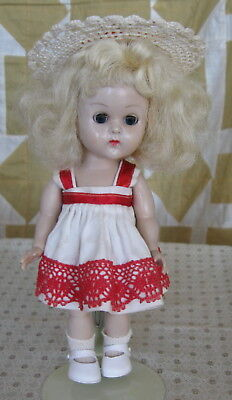 """Vintage 8"""" Vogue Ginny Blond Hard Plastic Doll In Tagged Dress"""