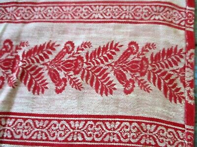 Antique Thistle Pattern Wool Childrens Coverlet Tablecloth Red & White Checkered