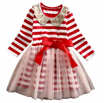 Toddler Baby Kids Girl Red Stripe Tulle Dress Holiday Candy Cane Dress Christmas