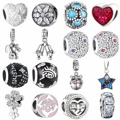 925 Sterling European Silver Pendant Charms Bead For Bracelet Necklace bangles