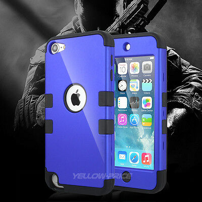 Armor Silicone Hybrid Cover Hard Case for Apple iPod touch 6 5 5th Gen. - Blue