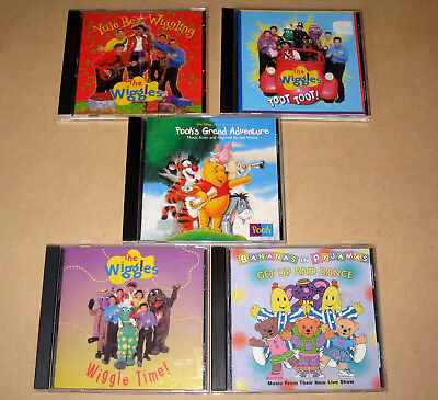 The WIGGLES Toot Toot CD + Wiggle Time + Yule Be Wiggling + Bananas in Pyjamas +