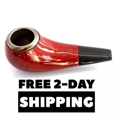 Glossy Wooden Tobacco Smoking Pipe, Stone, Ceramic, & Glass Bowl Alternative