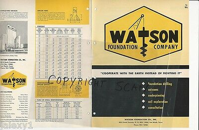 1964 WATSON Foundation Co Forth Worth TX Drilling Caissons Piers Vintage Catalog