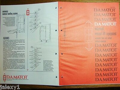 1975 D.A MATOT Vertical Lift Equipment DUMBWAITERS Carrier Elevators Vtg Catalog