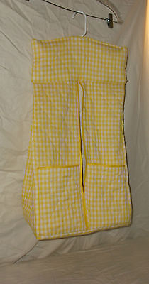 Diaper Stacker, Custom Made, Quilted Yellow and White Checks, Two front pockets