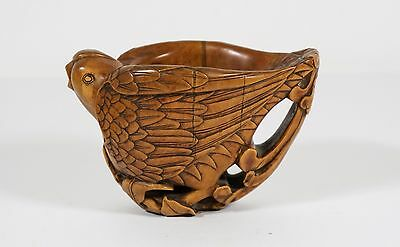 chinese huangyang wood carved libation cup
