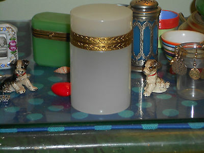 White  Opaline Box  Jar Cylinder- Beautiful And Vhtf ! Stunning