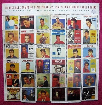 Limited Edition Stamps Elvis Presley 1960's RCA Record Label Covers Stamps Set