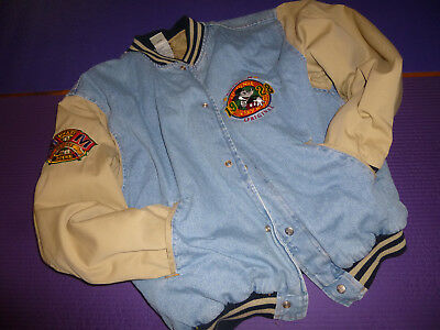 "MICKEY MOUSE JACKET ""American Original 1928"" Disney Store Denim Varsity Size L"