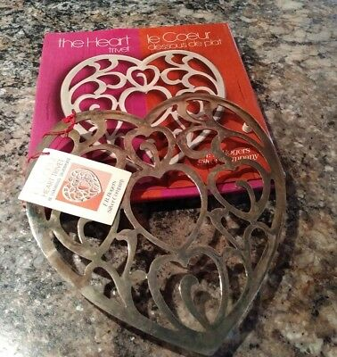 """Vintage the Heart Trivet F. B. Rogers Silverplate Italy 8"""" In Original Box"""