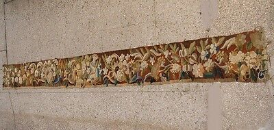 A Very Long Wool & Silk Tapestry Border With Fishes & Flowers