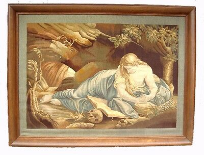An Important Antique Framed Tapestry - The Penitent Magdalene