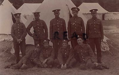 Soldier group Essex Regiment in tented Camp