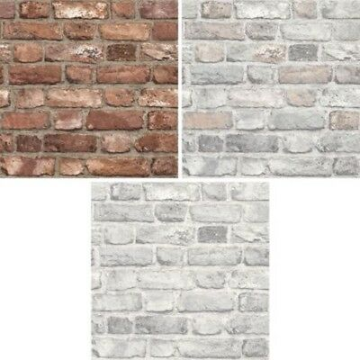 Grandeco Vintage House Brick Pattern Wallpaper Faux Effect Textured Stone