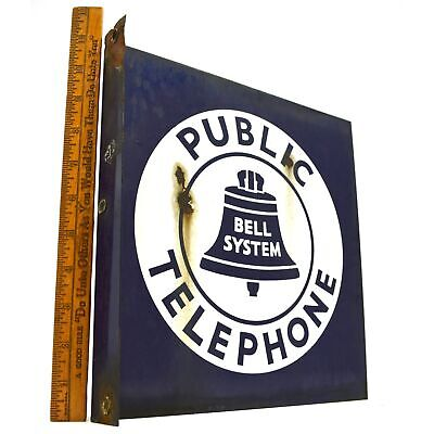 "Vintage BELL SYSTEM ""PUBLIC TELEPHONE"" 11x11"" Double-Sided FLANGE SIGN Porcelain"