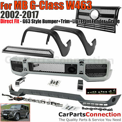 FRONT BUMPER W Black Grille G63 Style G Class 02-17 Front Fender Flares  Spoiler
