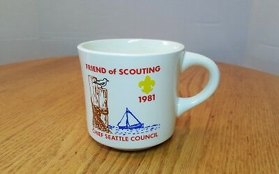 Chief Seattle Council 1981 Friend of Scouting BSA Vintage Boy Scout Mug USA