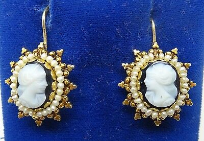 14k Victorian Hard Stone Dangle Earrings with Pearls (#C3488)