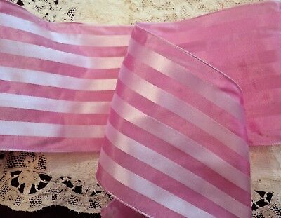 "5"" Wide Pastel Pink  Stripe Ribbon - French Wired"
