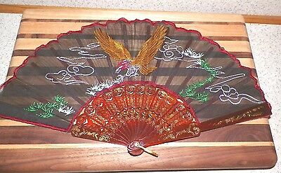 Vintage Falcon Eagle Bird Embroidered Hand Fan Brown Plastic Celluloid Handle