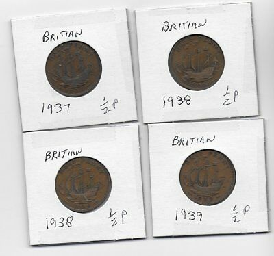 Pre WWII Britain 1937-1939 Coins (Lot of 4) - Free Shipping Canada and US