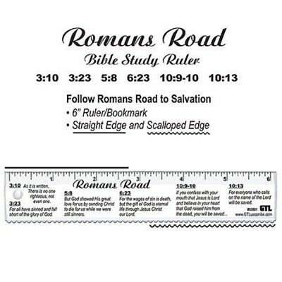 """Romans' Road 6"""" Bible Study Ruler, Clear FREE SHIPPING!!"""