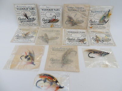 A Selection Of 9 Ogden Smith Mermaid Salmon Flies In Original Packets + 3 Others