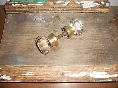 Vtg  Victorian Antique 8 Point Clear Glass/heavy Brass Door Knob Matched Set