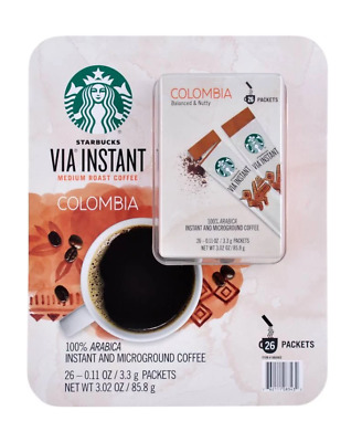 Starbucks VIA Instant Coffee Single Serve Packets, Colombia - 26 packets