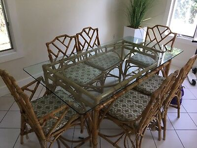 Vintage Chinese Chippendale Bamboo Dining Set 6 Chairs