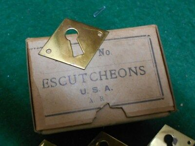 Antique BRASS DIAMOND KEY HOLE COVER ESCUTCHEON HARDWARE / Lot of 6 / NOS