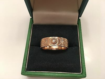 TJH~CELTIC WARRIOR BAND~IRISH SHIELD~9K YELLOW GOLD~IRELAND~HALLMARK~RING~Sz 9.5