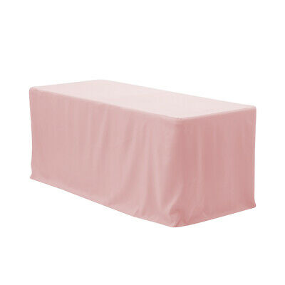 6 ft. Fitted Rectangular Premium Polyester Tablecloth Blush