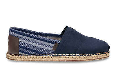 Toms Mens Navy Hemp Stripe Blanket Stitch Espadrilles Various Sizes