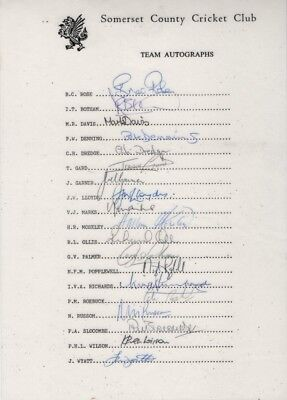 Signed Somerset Cricket Team Sheet 80's LAMINATED