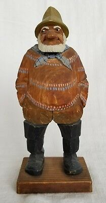 Large Trygg Sweden Woodcarving  Old Salty Seaman Sailor Wharf Fisherman