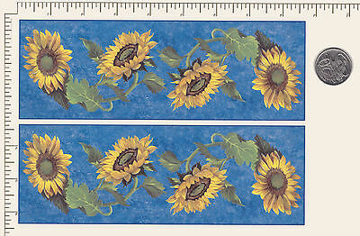 "2 Waterslide ceramic decal Decoupage Sunflower Mug wrap Floral 8 1/2"" x 3"" PD41a"