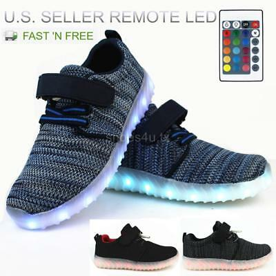 Kids LED Light Up Shoes Sneakers w/ Remote  Boys Girls USB Charger Hook & Loop