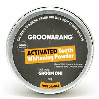 Groomarang Activated Charcoal, Coconut Shell Mint Orange Teeth Whitening Powder