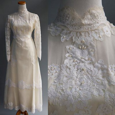 VTG 40s 50s Victorian Collar Lace Wedding Dress Subtle Beaded Sequin Pearls XS S