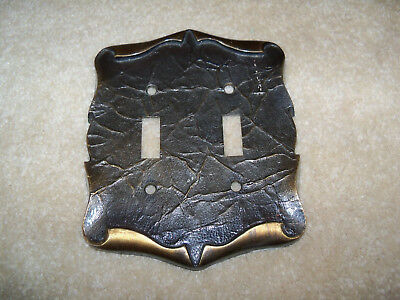 Vintage Amerock Carriage House Double Electric Switch Cover Plate Brass